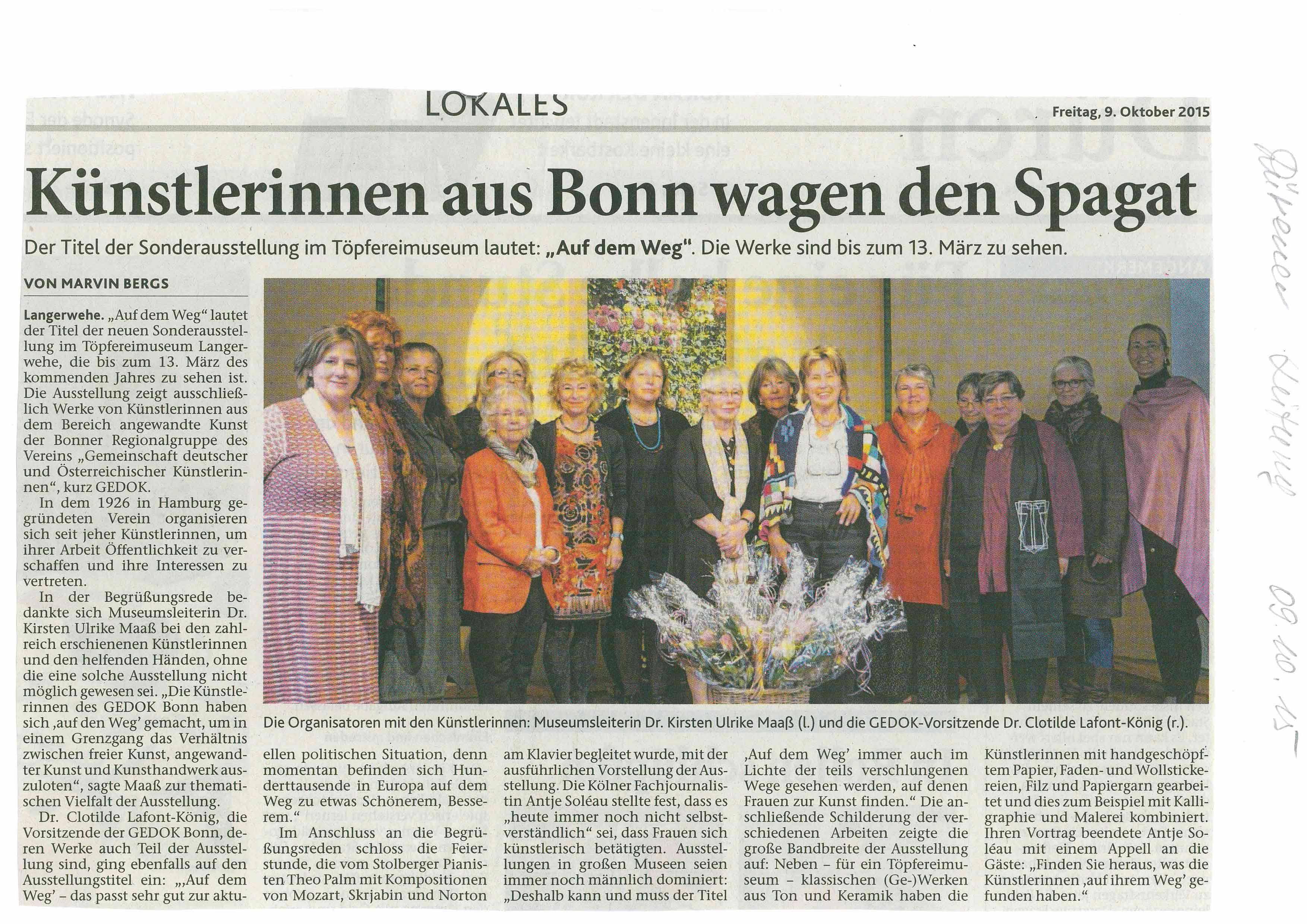Künstlerinnen aus Bonn wagen den Spagat, Dürener Zeitung, 09.10.2015